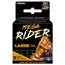 Mega Rider Large Latex Condoms 3pk